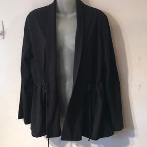 EUC EILEEN FISHER black open cardigan sweatshirt L